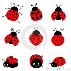 236x236 Cartoon Ladybug Cute Colorful Ladybugs Illustration Isolated On