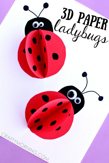 421x627 3d Paper Ladybug Craft For Kids
