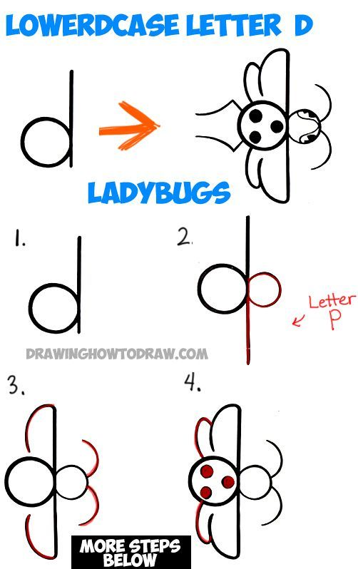 502x798 How To Draw A Cartoon Ladybug From A Lowercase D In Simple Step By