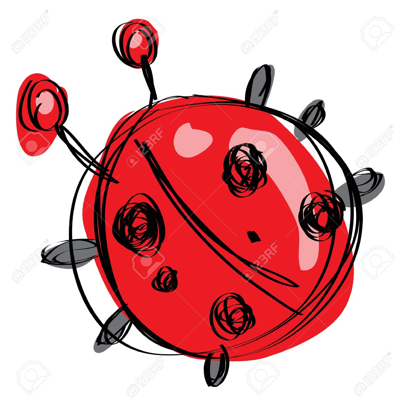 1284x1300 Cartoon Red Baby Ladybug With Black Dots In A Naif Childish