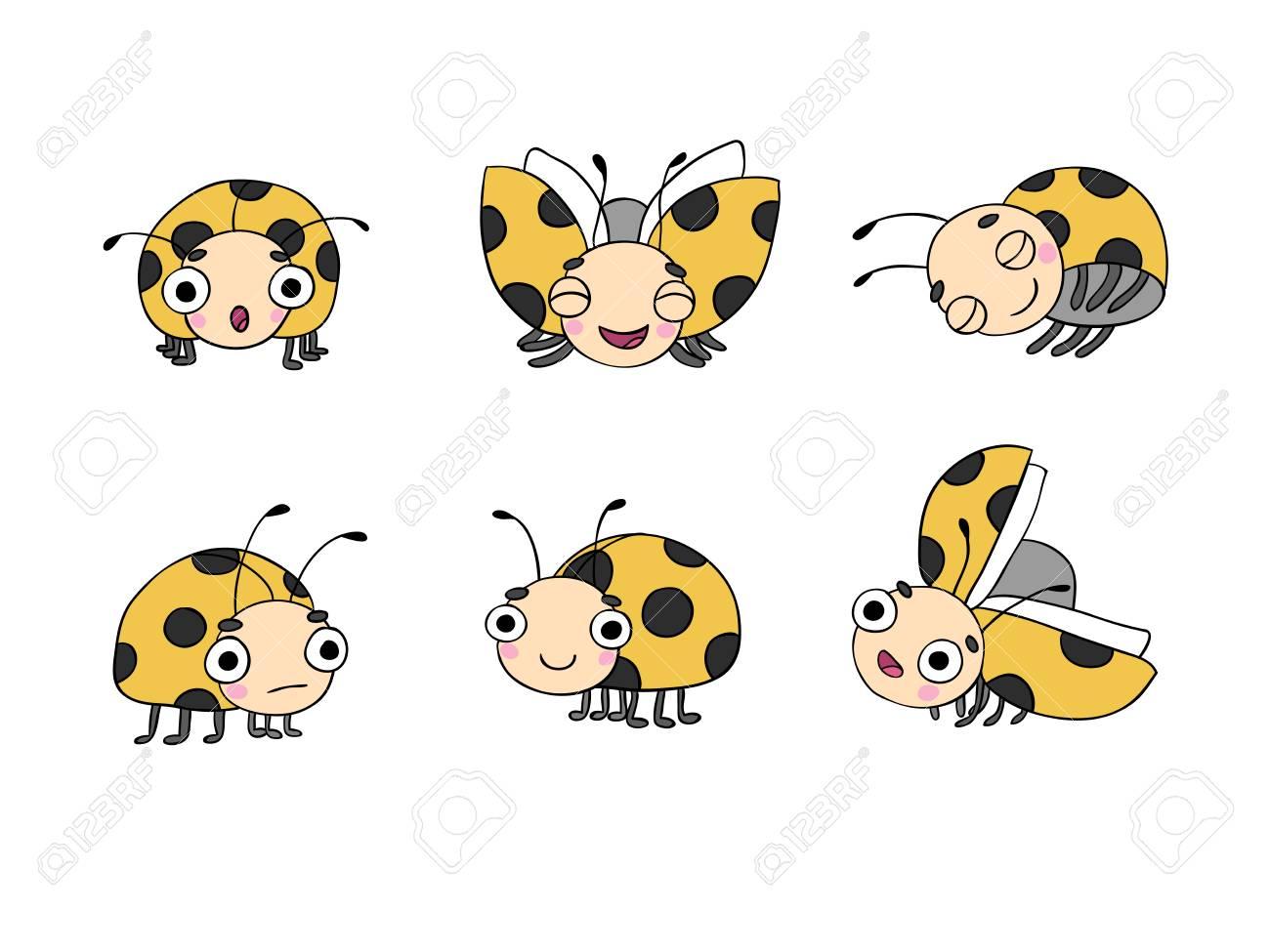 1300x975 Set Of Ladybugs. Hand Drawing Isolated Objects On White Background