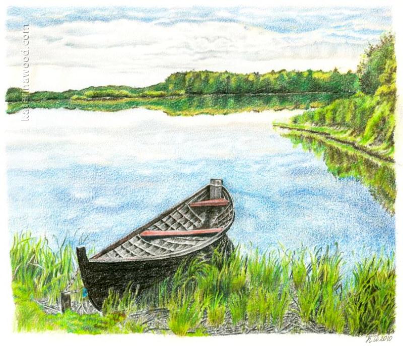 800x687 Boat On The Syamozero Lake By Katerina Wood