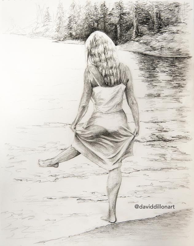 632x800 David Dillon On Twitter Mountain Lake Original Pencil Drawing
