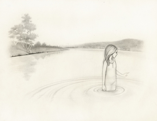 640x496 Kirsten Kramer Artwork Girl In Lake Original Drawing Pencil
