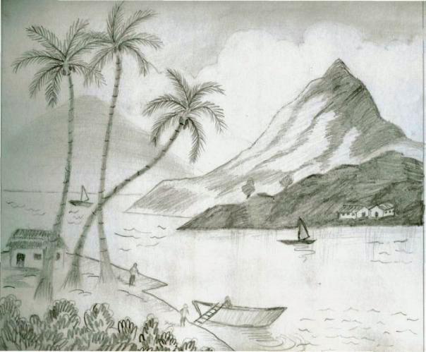604x499 Lake View Pencil Sketch Speakart
