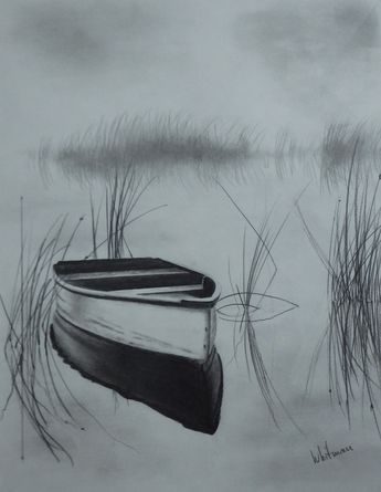 345x445 Misty Boat On The Lake. Pencil Drawing By Elena Whitman