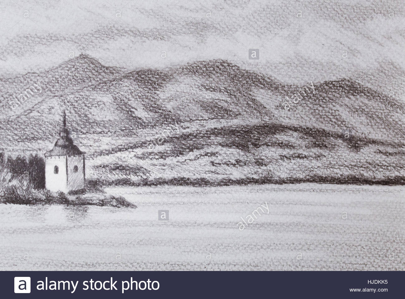 1300x960 Landcsape Scenery With Lake, Chapel And Mountains, Pencil Drawing