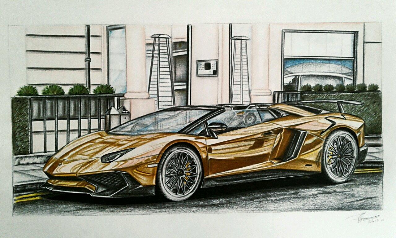 Lamborghini Aventador Drawing at GetDrawings | Free download