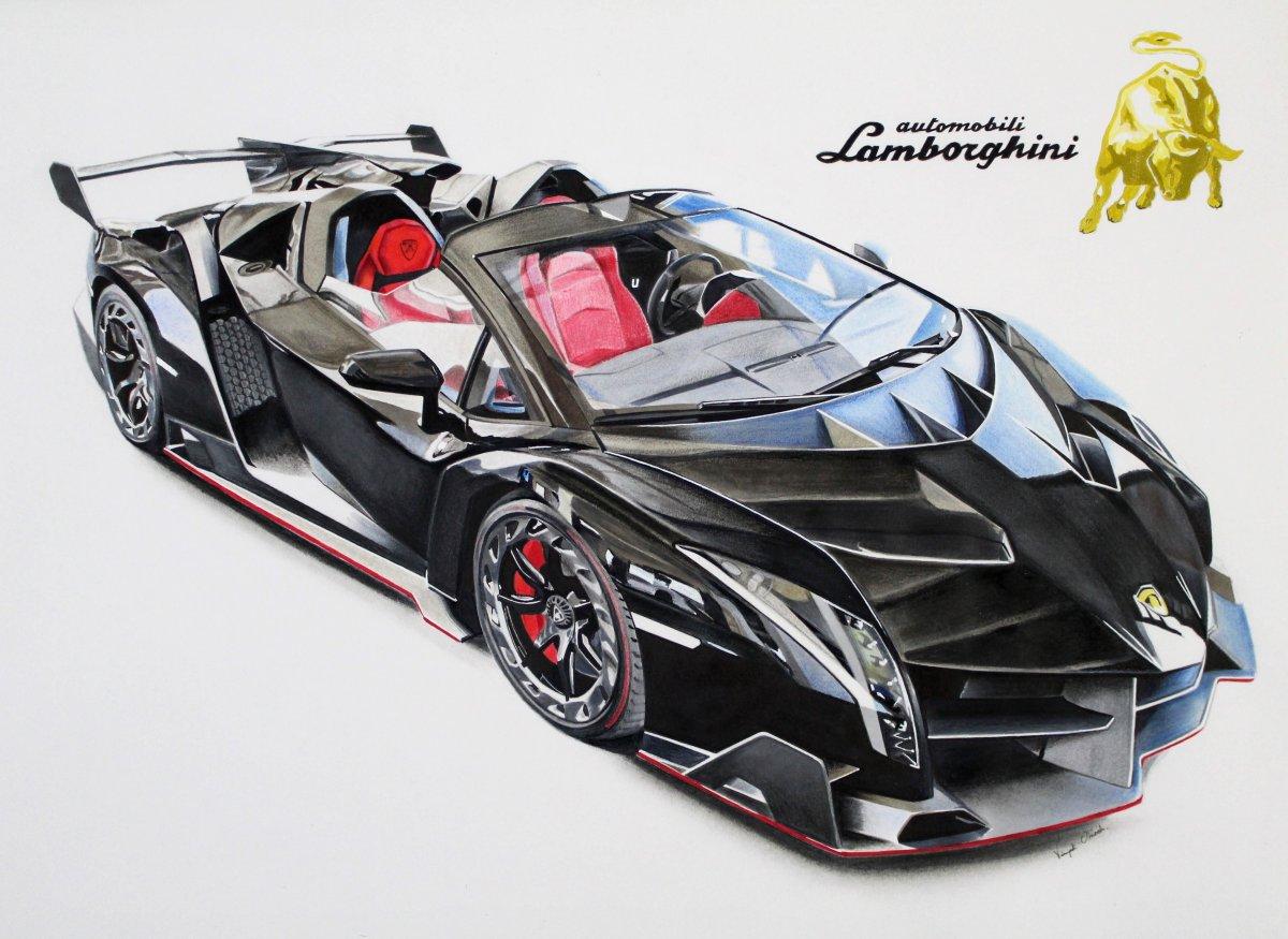 1200x875 Lamborghini Veneno Drawing