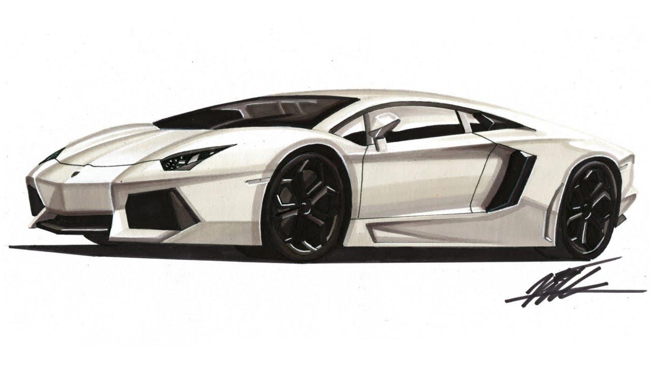 1280x720 Realistic Car Drawing