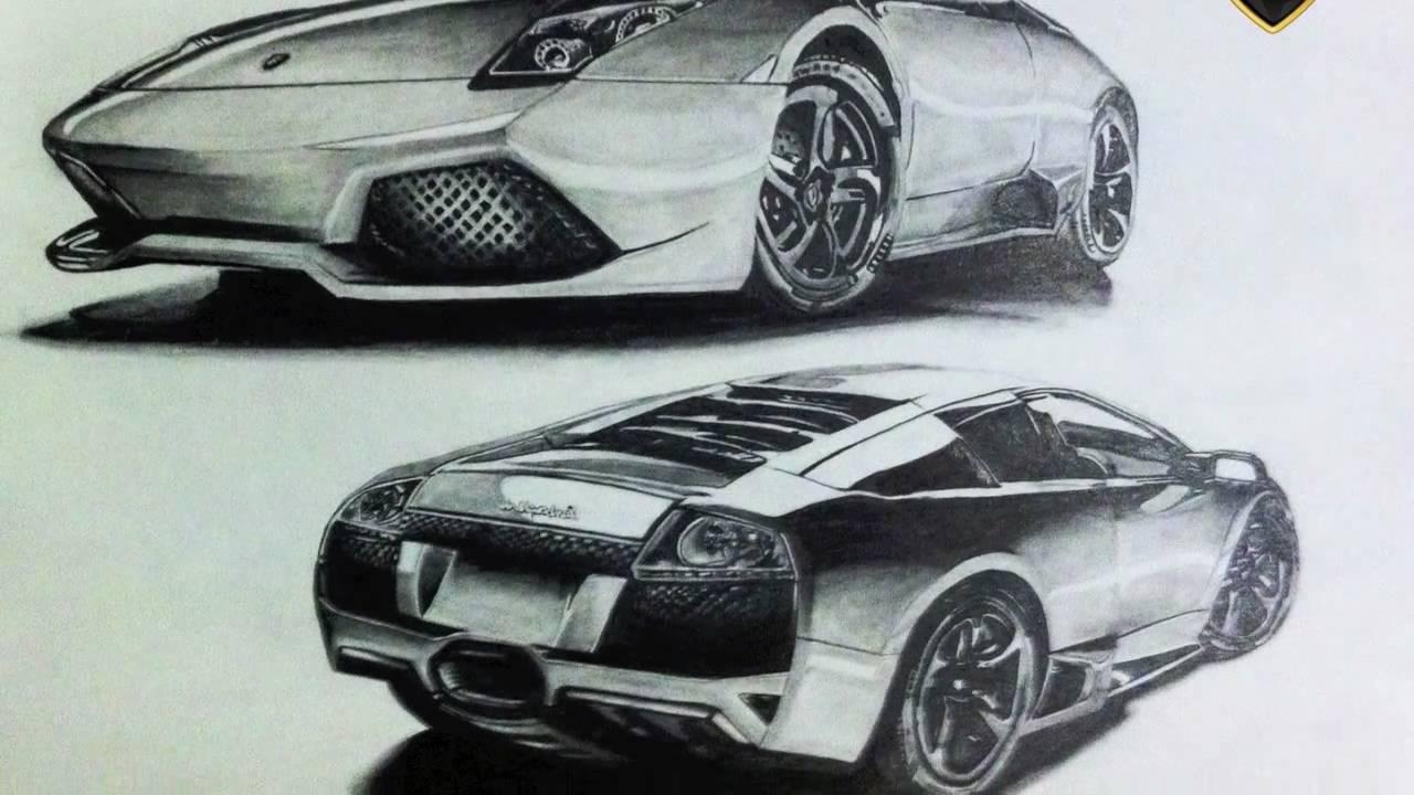 1280x720 Car Drawing Lamborghini Murcielago
