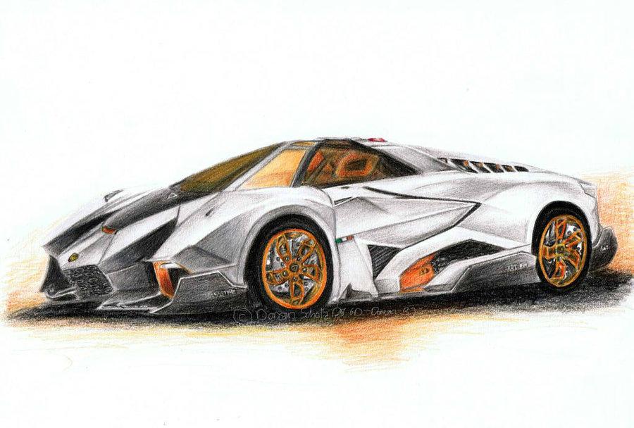 900x608 Lamborghini Egoista Coloured Pencil Drawing By Gd Doreen Bj