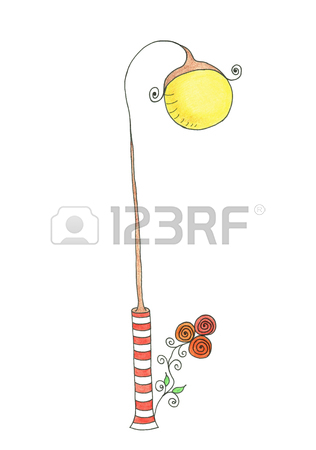 316x450 Lamp Post. Illustration. Drawing Hand On A White Background. Stock
