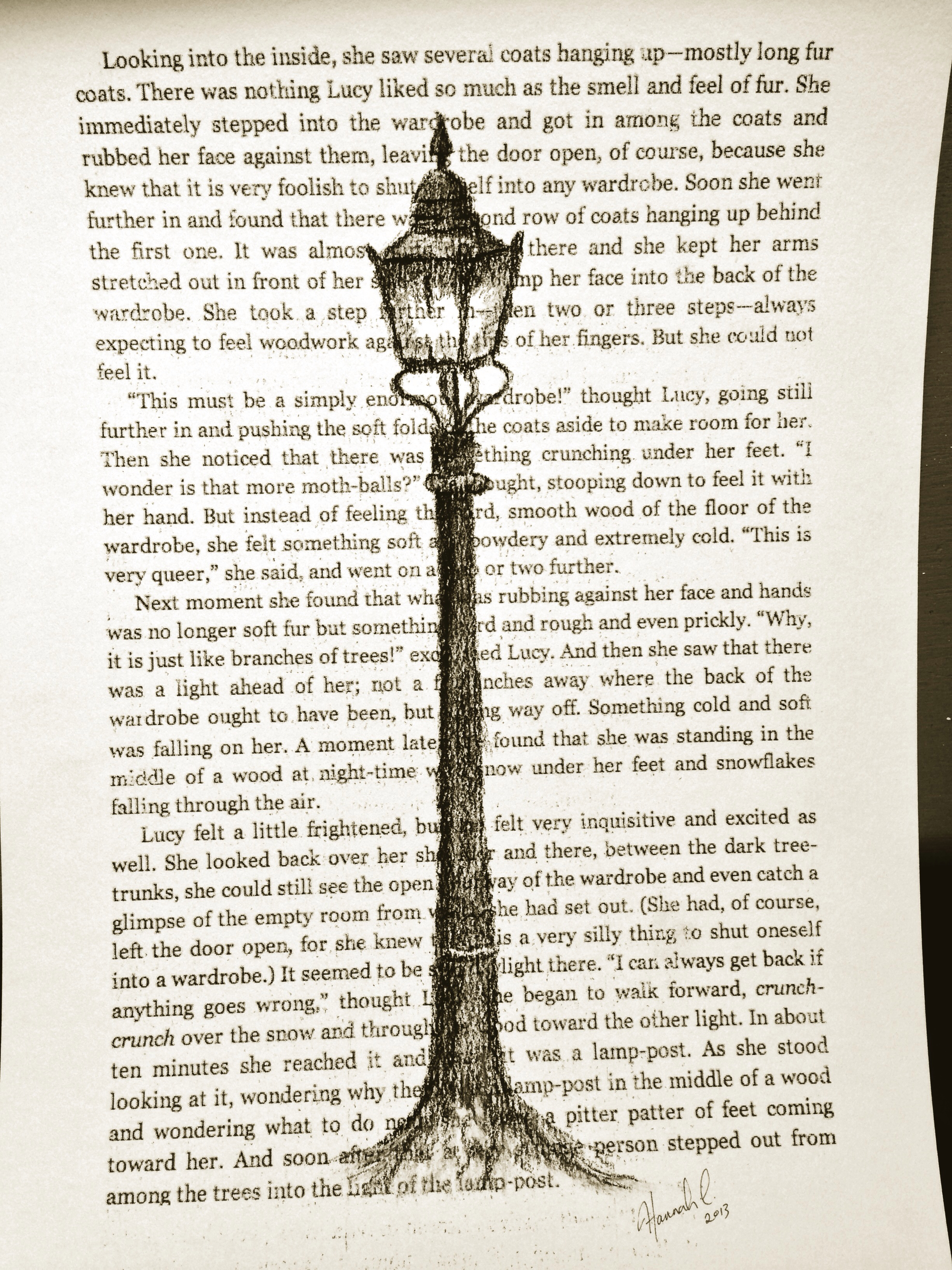 2448x3264 Narnia Lamp Post. Sketched With Charcoal.