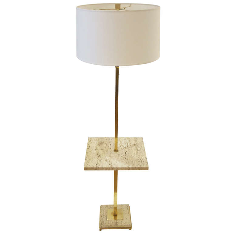 768x768 Mid Century Floor Lamp With Polished Travertine Table Top