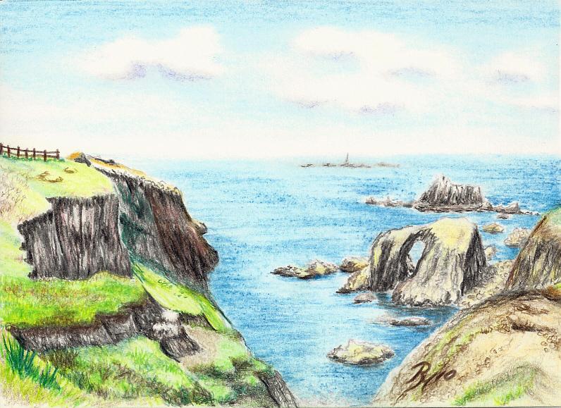 796x579 Cliffs And Enys Dodman Rock, End Art Drawing