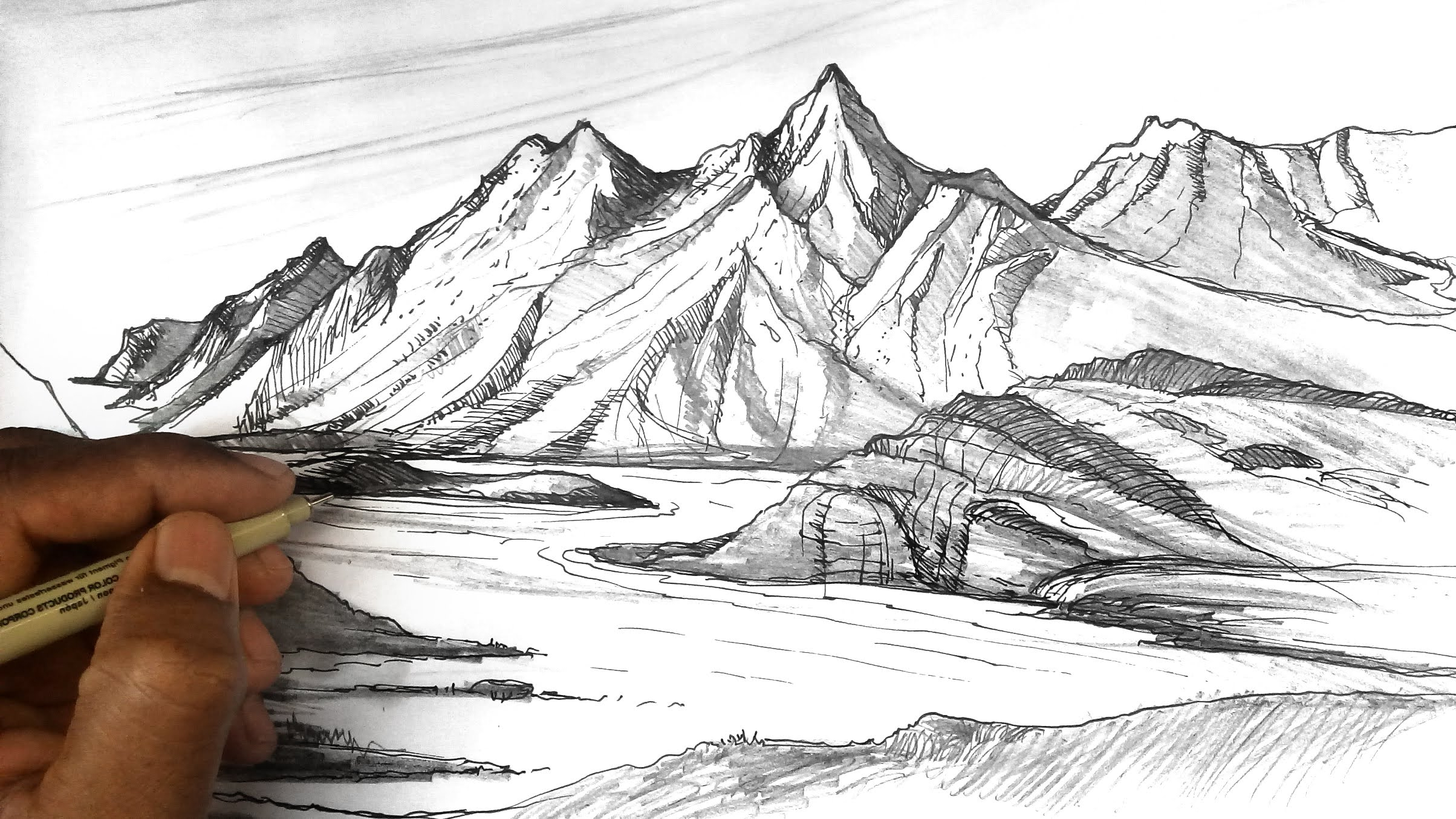 2408x1355 Sketching 3d Land Scape How To Draw Mountains Mountain Sketches