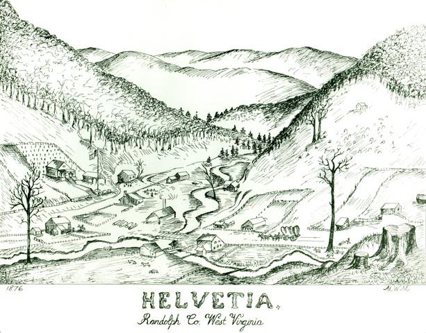 613x480 E Wv Exhibit Helvetia Early Drawing Of Helvetia