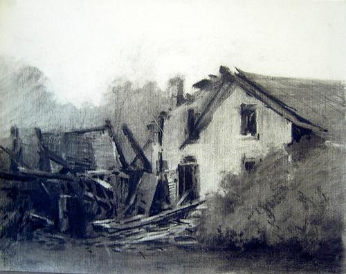 500x396 Burned Farmhouse