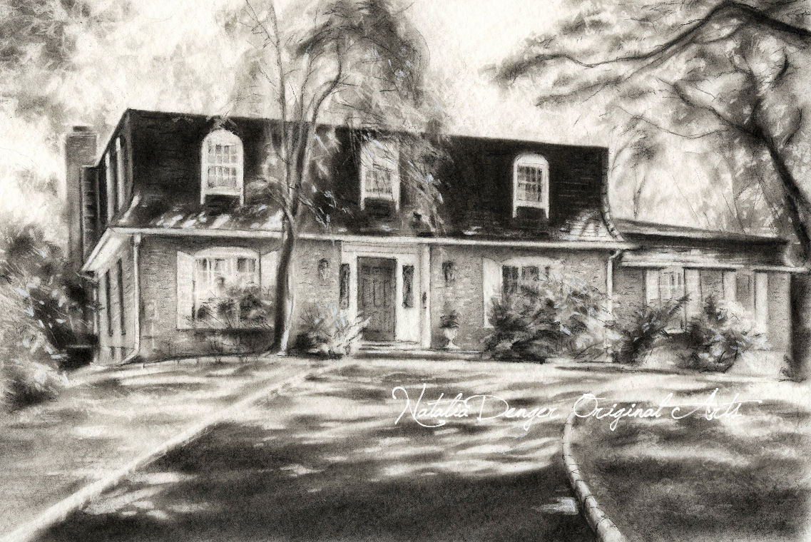 1137x760 CUSTOM House Drawing 8x10 Charcoal Drawing Landscape