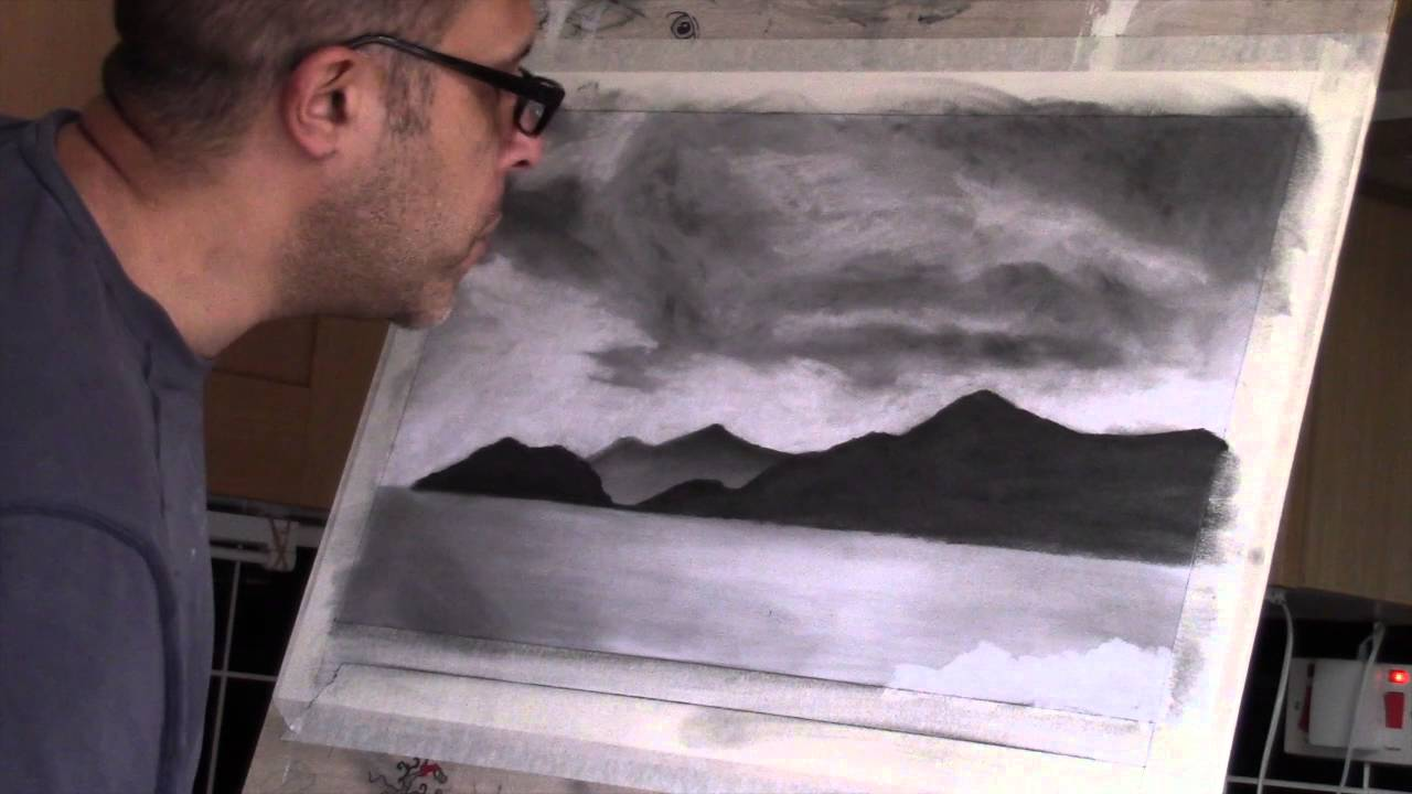 1280x720 Charcoal landscape Drawing