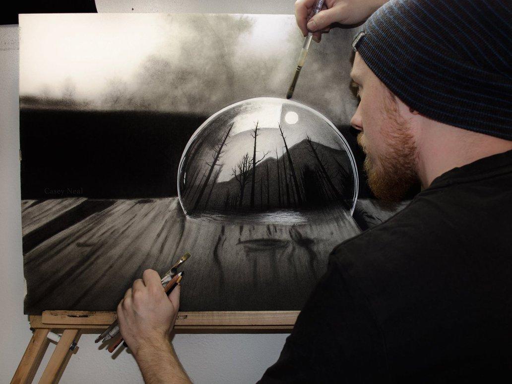 1032x773 Landscape In Bubble Charcoal Drawing By Caseynealartwork
