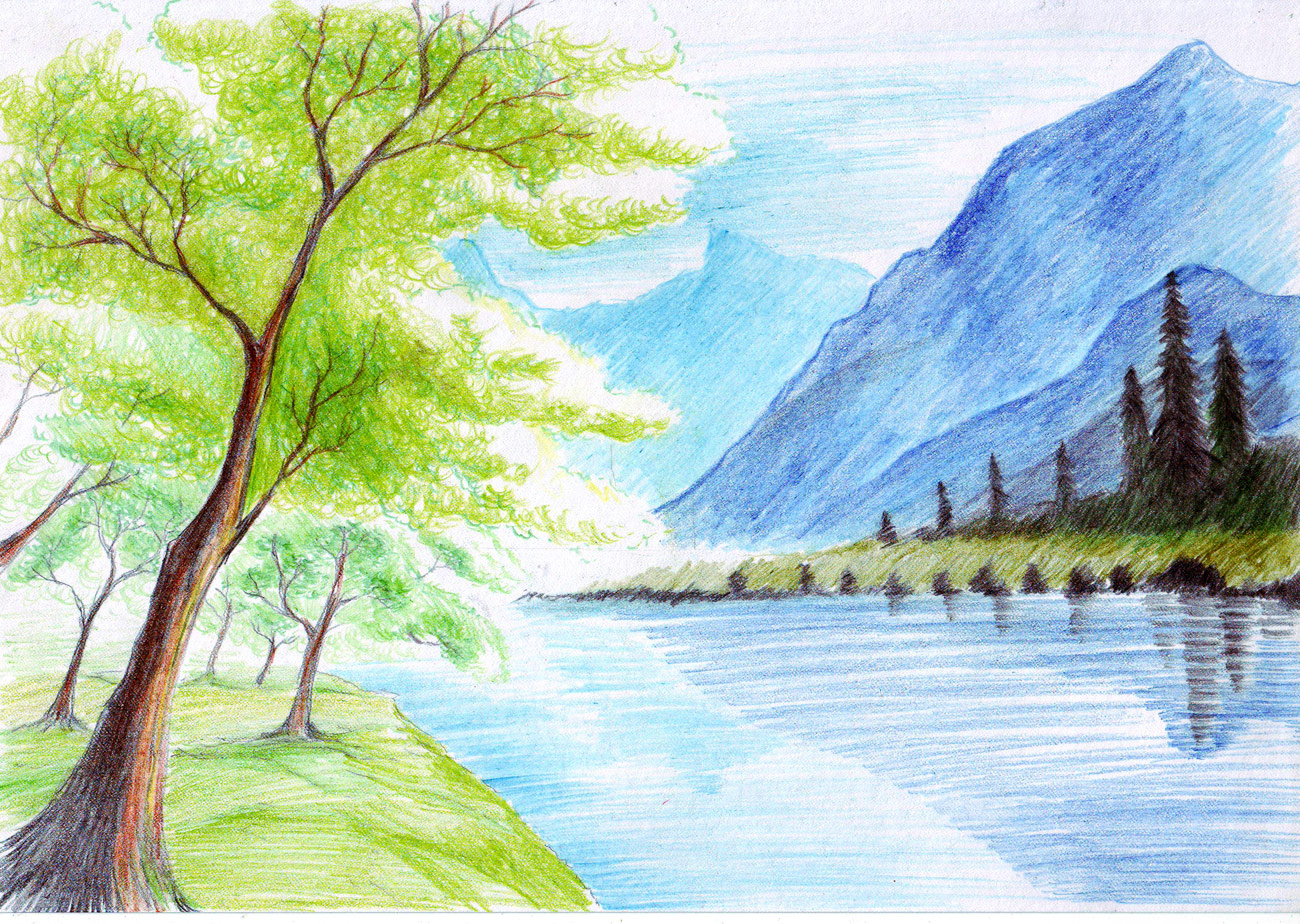 1300x924 Coloured Landscape Drawing Landscape Color Drawing Hd Wallpaper