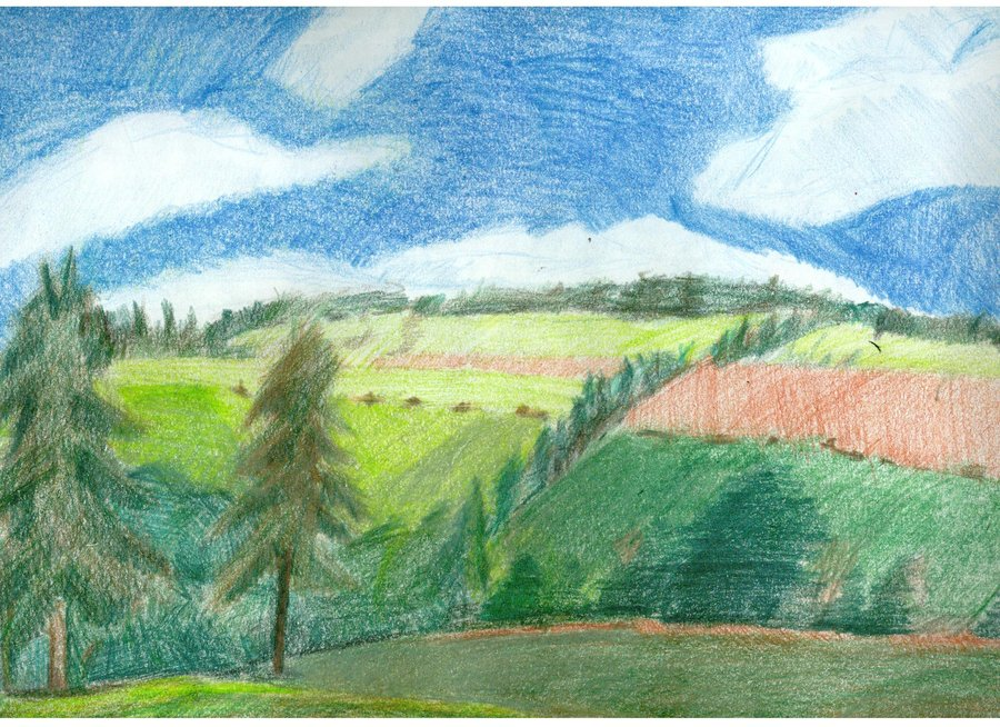 900x654 country landscape colored pencil drawing by fujoshianimechick on
