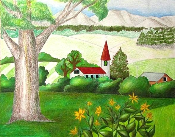 Landscape Color Drawing At Getdrawings Com Free For Personal Use