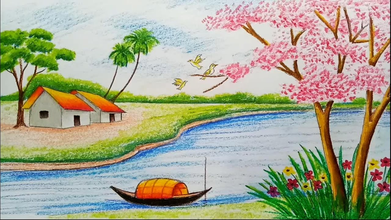 1280x720 How To Draw Landscape Scenery Of Spring Season With Oil Pastels
