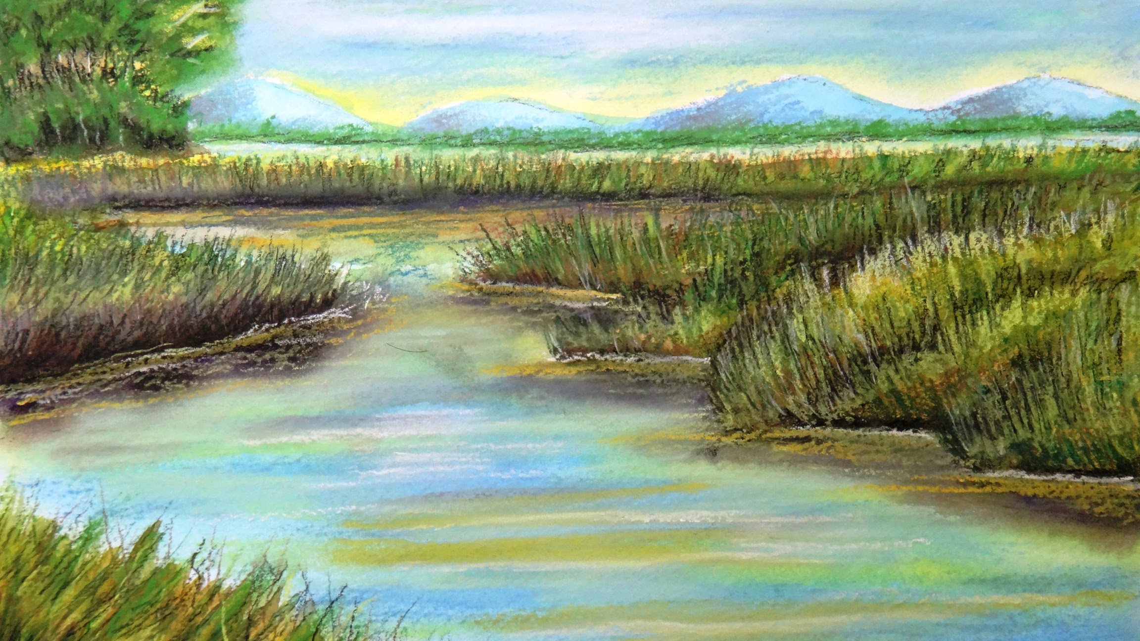 2304x1296 Landscape Color Drawing How To Draw A Pastel Landscape Over