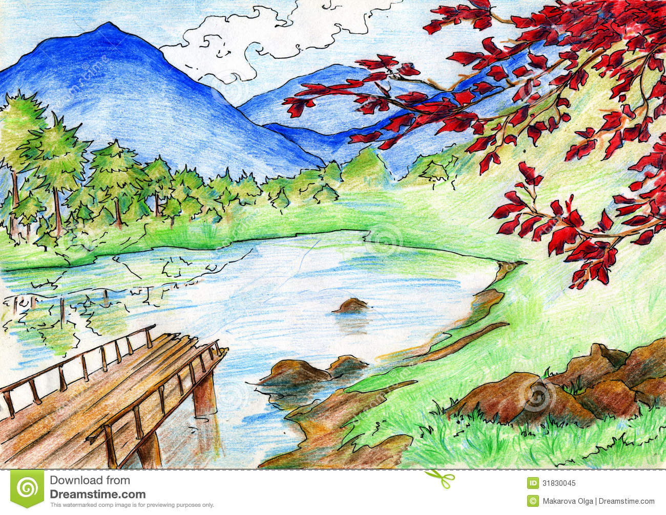1300x1007 Landscape Drawing With Crayons Beautiful Crayons Colour Landscapes