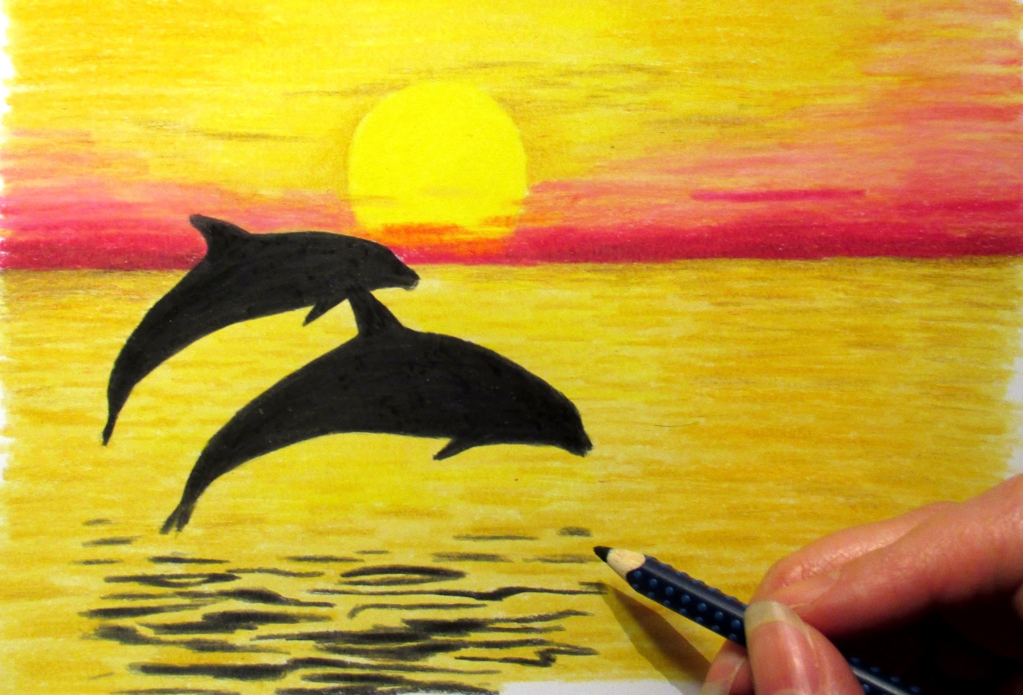 2000x1359 Landscape In Colored Pencil Sunset And 2 Dolphins Drawing