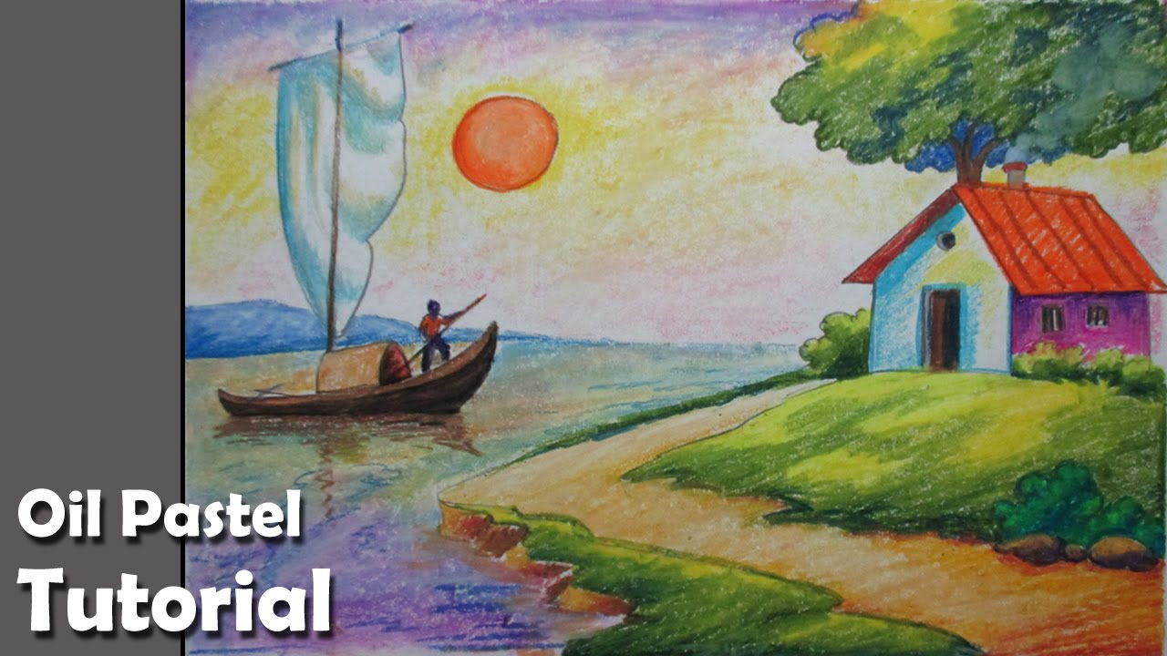 1280x720 How To Draw A Riverside Landscape With Oil Pastels Episode 4