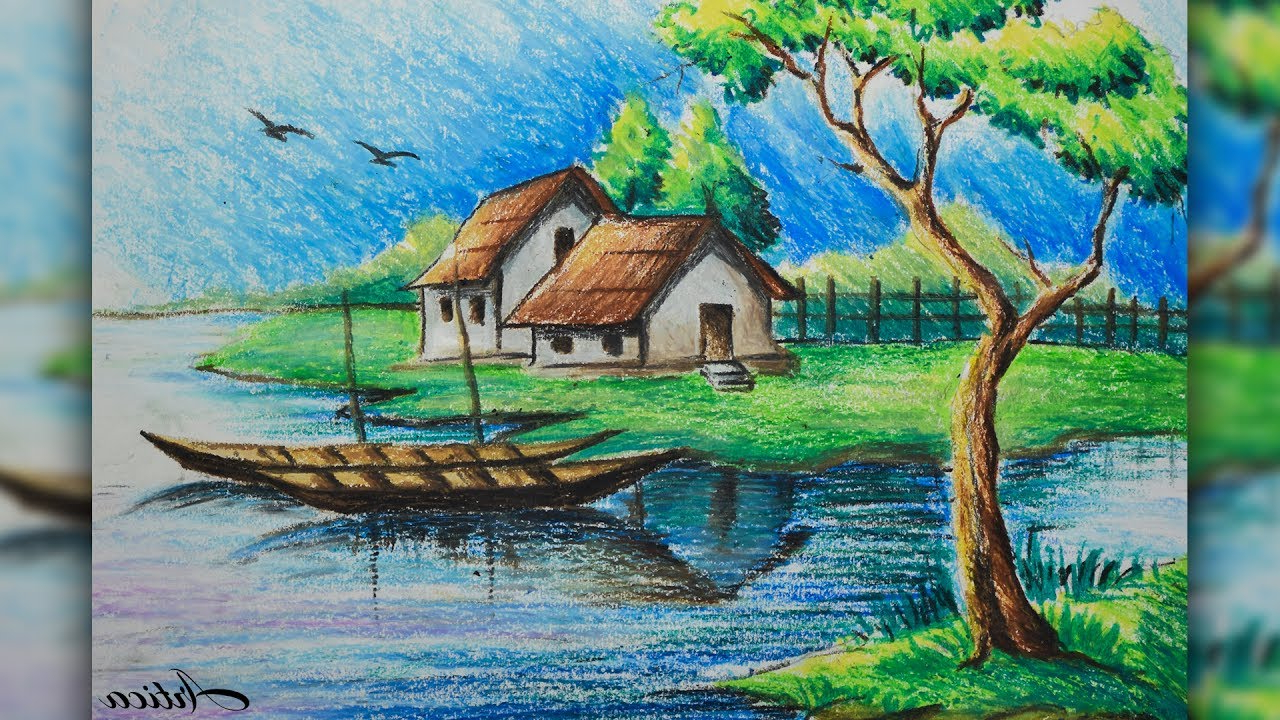 1280x720 Landscape Color Drawing With Oil Pastels How To Draw A Village
