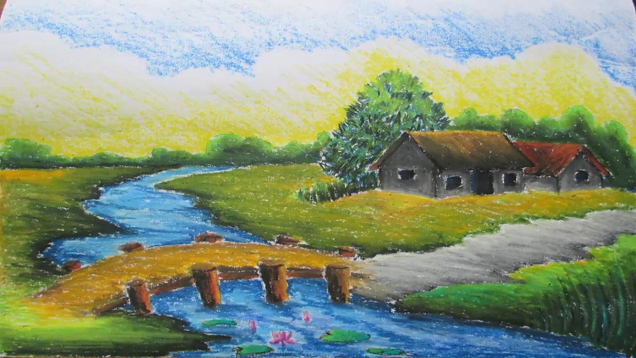 1280x720 Landscape Color Drawing With Oil Pastels Of Couples