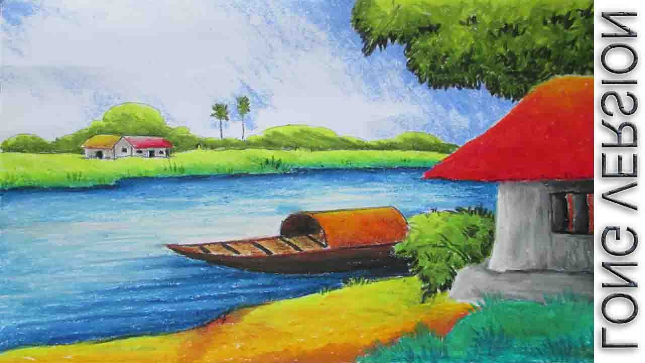 1280x720 Oil Pastel Colour Drawing Landscape Color Drawing With Oil Pastels