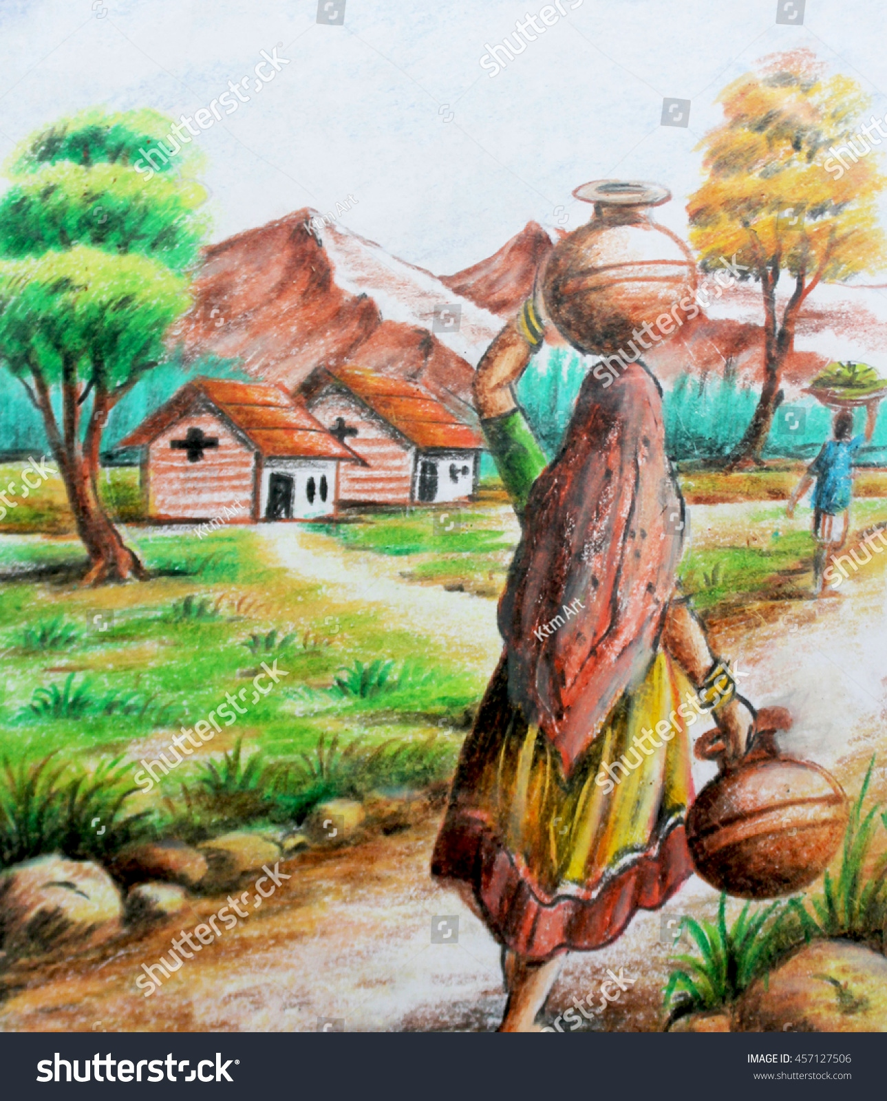 Landscape Color Drawing With Oil Pastels at GetDrawings ...
