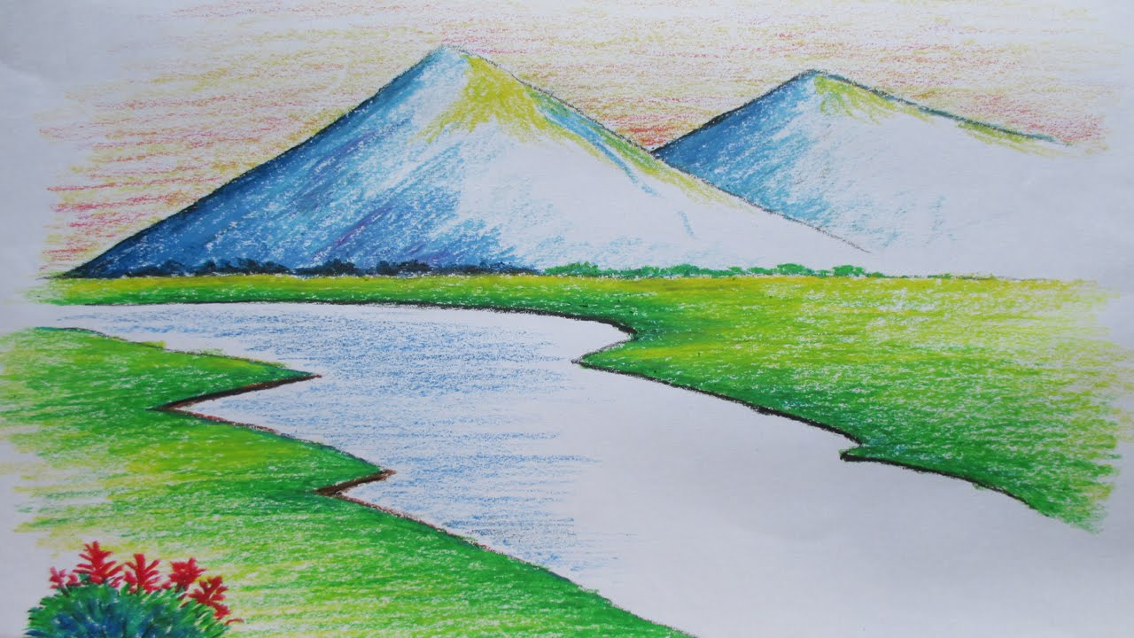 1280x720 Beginners Mountain Landscape Drawing With Oil Pastel