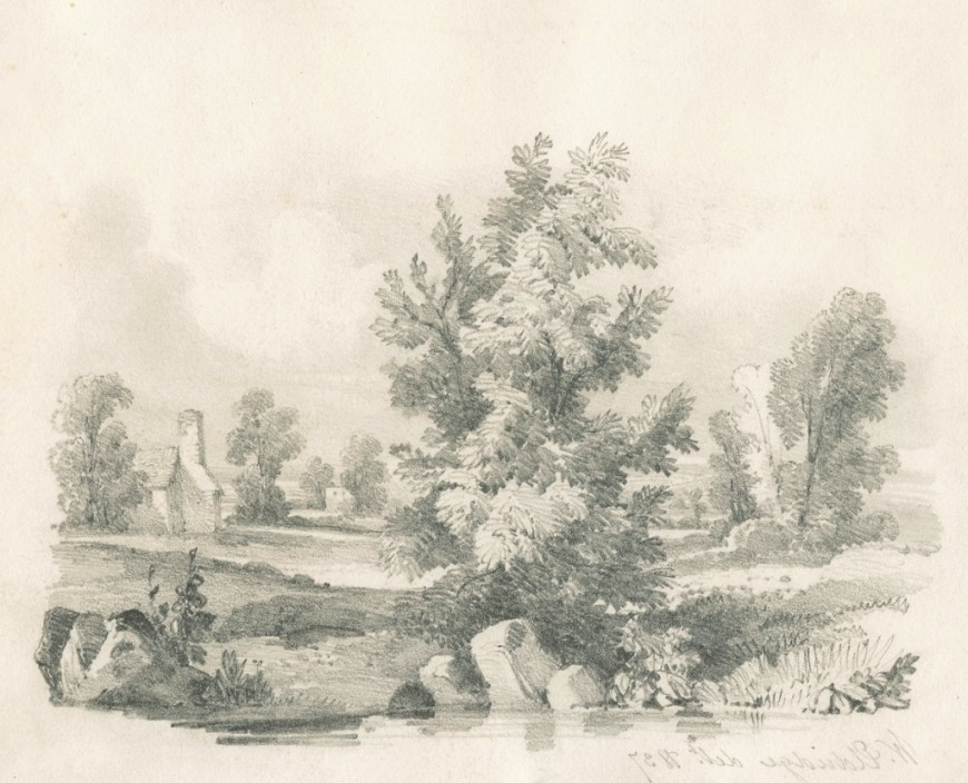 870x704 Landscape Drawing Pencil