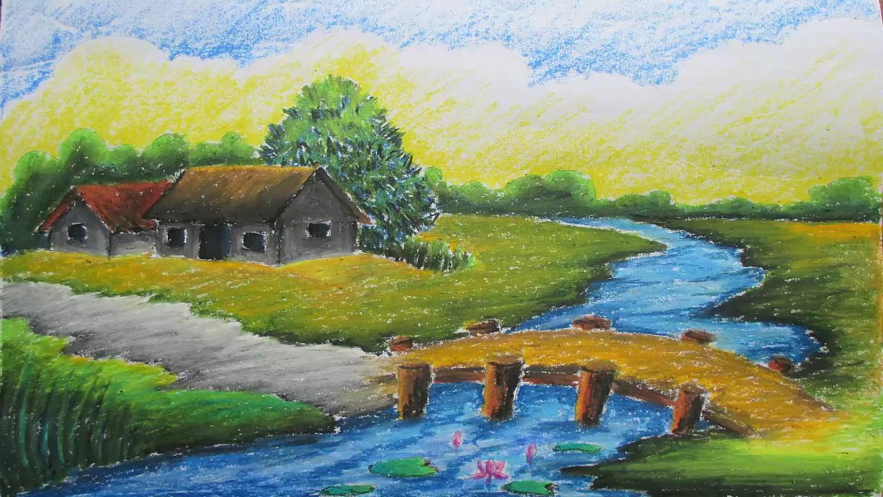 1280x720 Best Drawing Scenery Pastel Tutorial How To Draw A Village