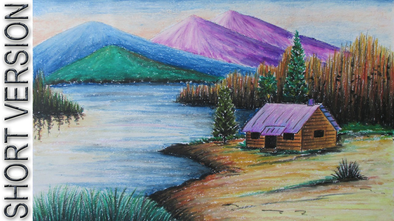 1280x720 How To Draw A Mountain Landscape With Oil Pastel [Short Version