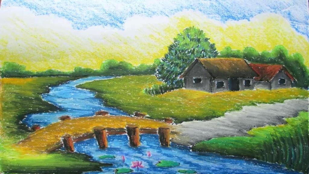 1024x576 Pastel Landscapes Drawn Landscape Pastel Drawing 3 Pastel