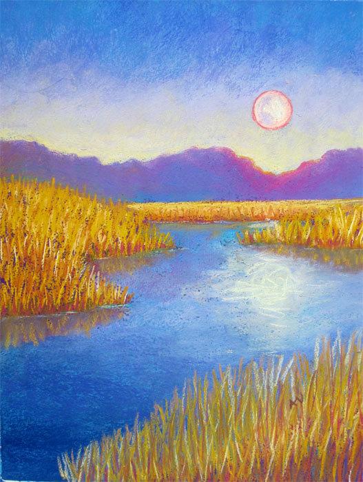527x700 Summer Evening Moonrise Original Pastel Drawing Cool Art