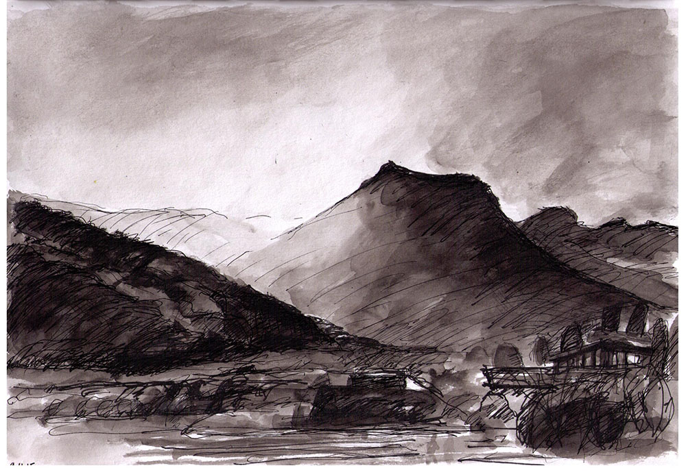 1000x689 Mountain Scene In Bhutan. Drawing In Ballpoint Pen And India Ink