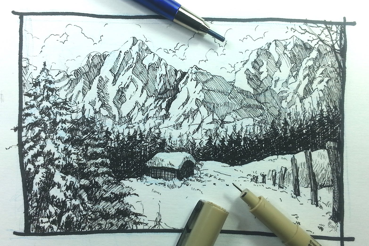 1565x1047 Pen Amp Ink Drawing Tutorials How To Draw A Winter Landscape