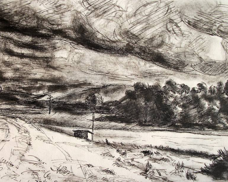 770x616 Saatchi Art Realism Countryside Drawing, Modern Landscape