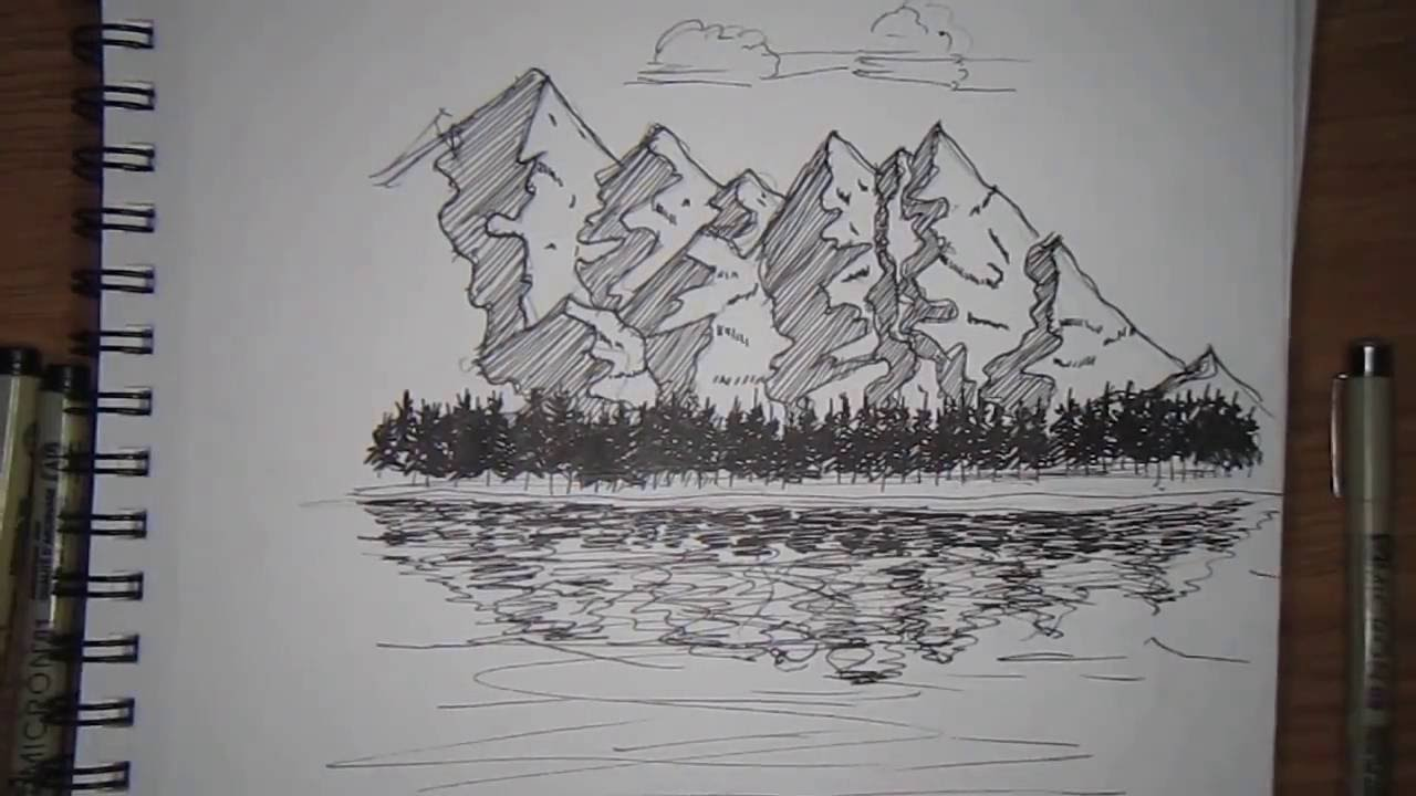 1280x720 Mountain Landscape Drawing Pen And Ink