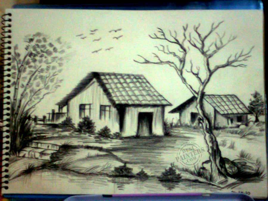 900x675 gallery simple landscape painting pencil