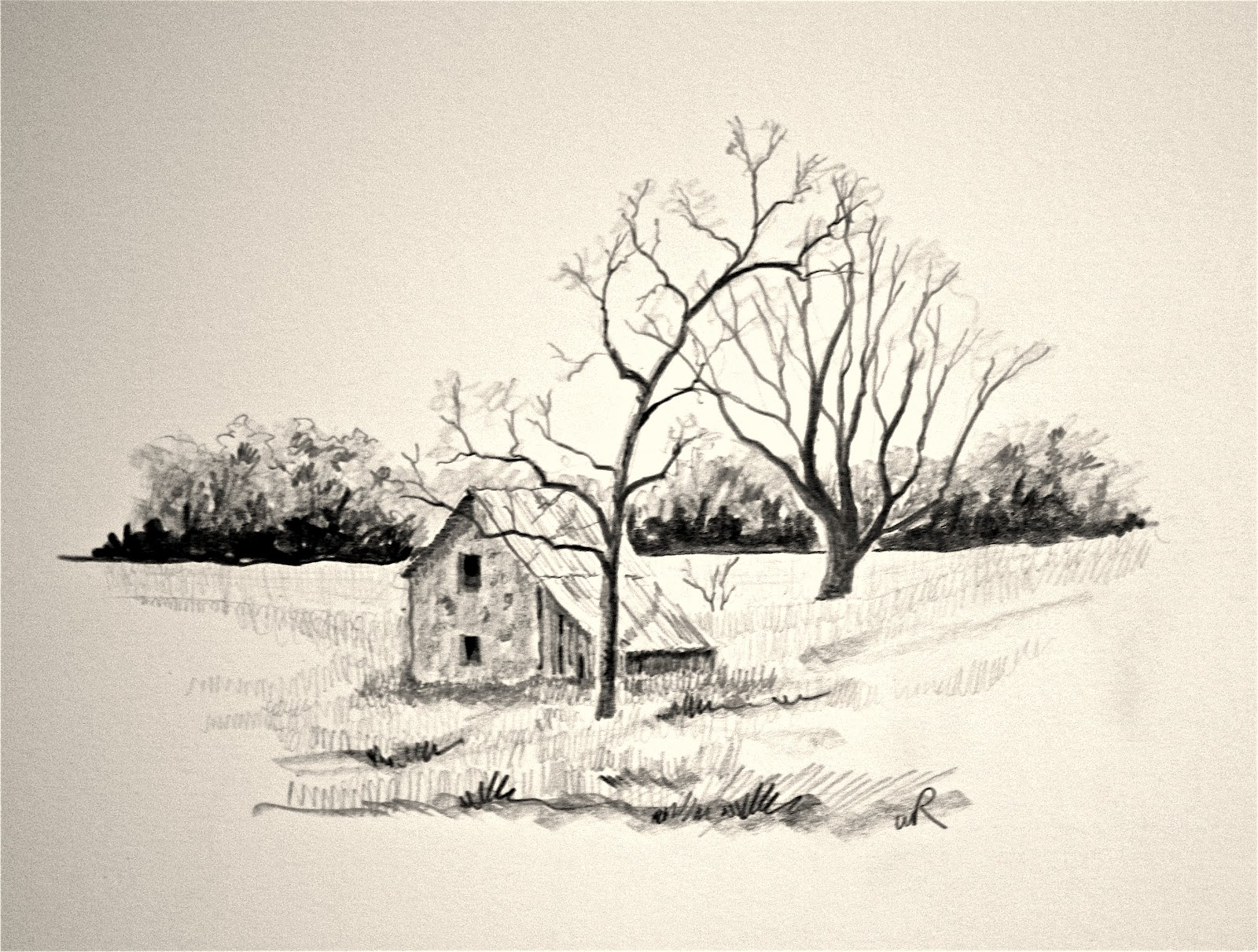 1600x1211 Landscape Drawings In Pencil Carbon Pencils 6b 4b 2b And B They